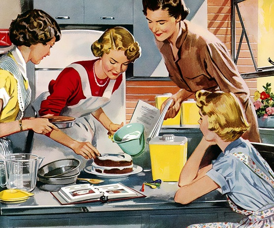 homemakers, housewives & daughter baking together