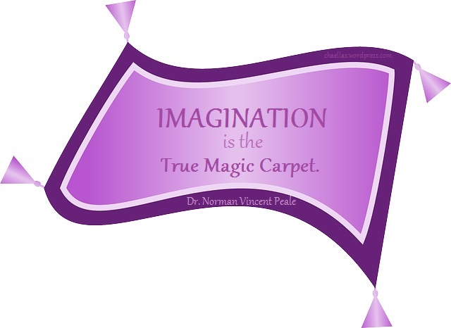 "Image of magic carpet with Dr. Norman Vincent Peale quote: ""Imagination is the true magic carpet."""